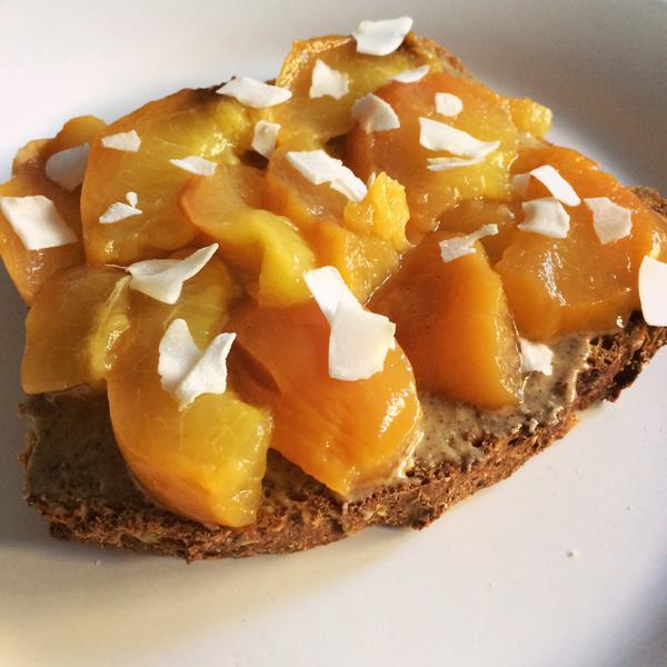 barbecued peach on almond butter bread